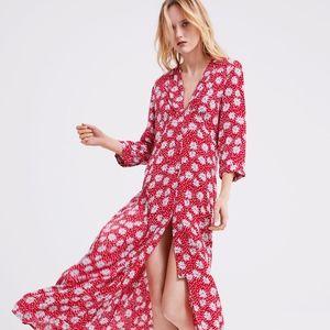 ZARA Flowy Floral Print Maxi Dress